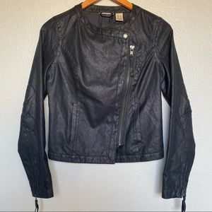 DKNY black zip up faux leather black moto jacket